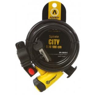 Auvray Antivol spiral 10mm 180cm verrou à clef et support vélo