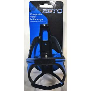 Porte bidon velo BETO Noir avec mâchoire fixation cintre ou tige de selle