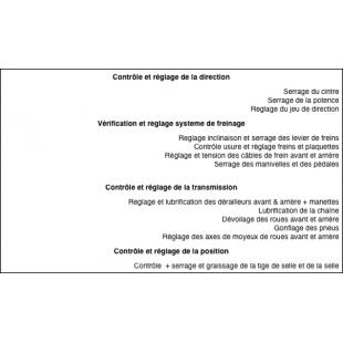 ATELIER Entretien Forfait revision Annuel/Bis-annuel 1 SECURITE (vélo Non-Électrique)