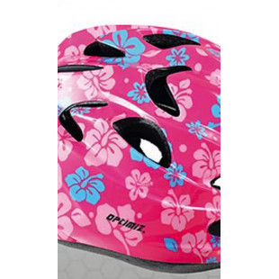 casque enfant OPTIMIZ fleurs rose S52/56
