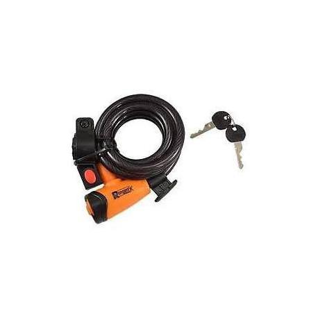 Antivol vélo Spiral à cle Diamètre 12 x 1,80m RANGERS Noir/orange avec support