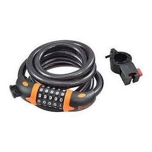 Antivol vélo Spiral à code Diamètre 12 x 1,80m RANGERS Noir/orange avec support