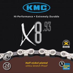 "Chaîne KMC X-8-93 1/2"" x 3/32"", 116 maillons, 7,3mm, 8vit"