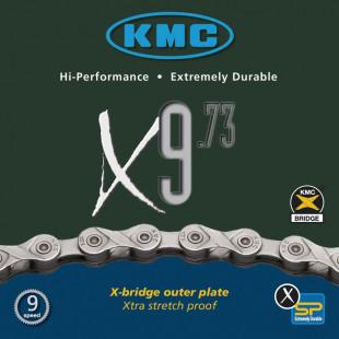 "Chaîne KMC X-9-73 1/2""x11/128"", 116 maillons, 6,6mm, 9 vitesses"