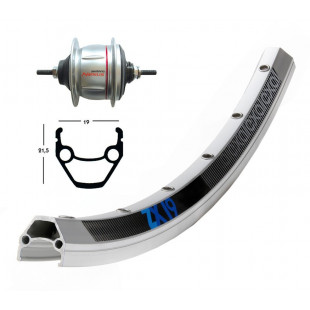 roue AR 28x1.75 sans rétro Shimano nexus 8v. 36t ZX 19 argent rayons inox Niro