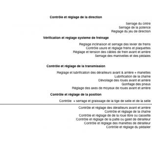 Atelier Entretien Forfait revision 4 Main d'oeuvre TRANSMISSION et DIRECTION special VAE moteur pedalier