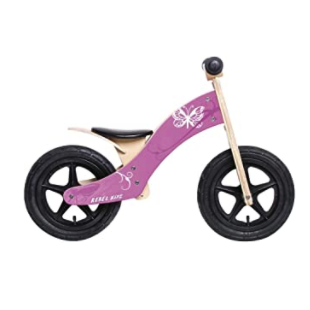draisienne rebel kidz wood air bois 12'' papillon rose