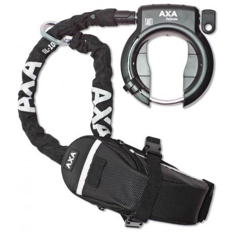 AXA Defender Antivol cadre + chaîne RL 100 + sacoche outdoor sur carte