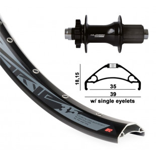 "roue AR 27.5"" XLC 6t. noir TA 12 148mm Rodi TRYP35 DISK noir rayons inox 32 t"