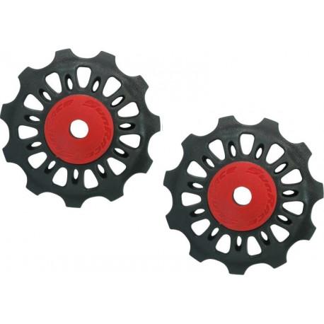 SunRace galets de dérailleur 8 / 9V 11 dents 2 pièces noir/rouge
