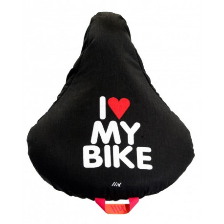 Liix Saddle Cover I Love My Bike Black